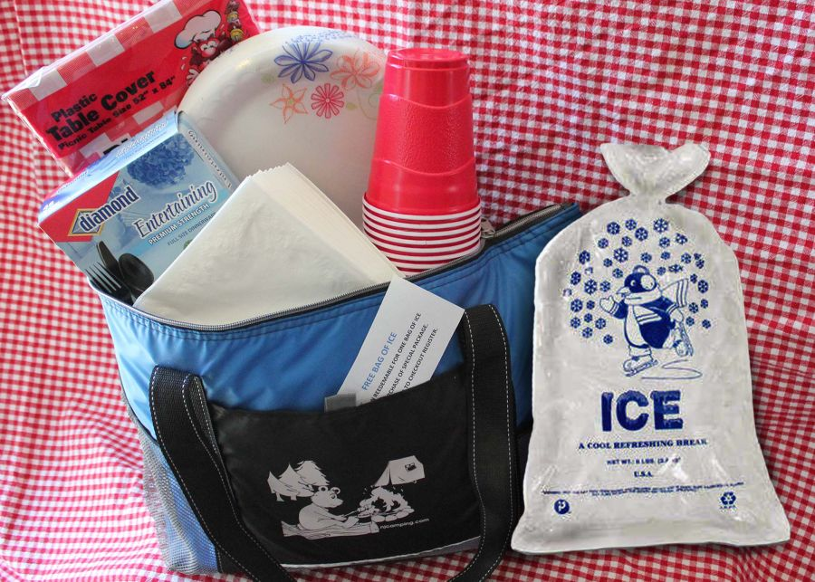 A picture of items included in the camping starter package