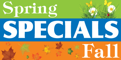 A spring and fall specials graphic