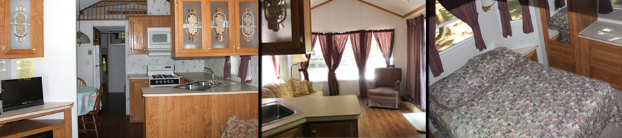 Interior pictures of a Kymer's rental trailer